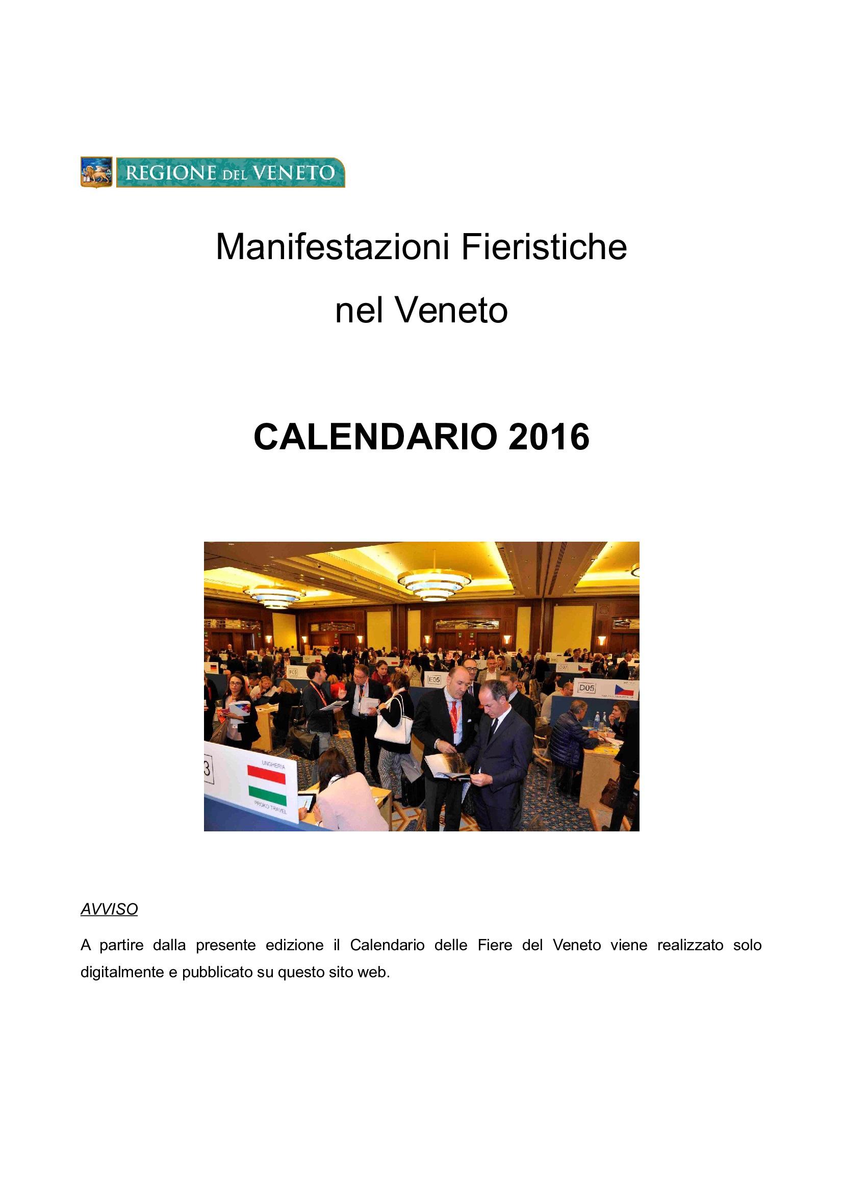 Regione veneto calendario fieristico for Fiera elettronica calendario 2016