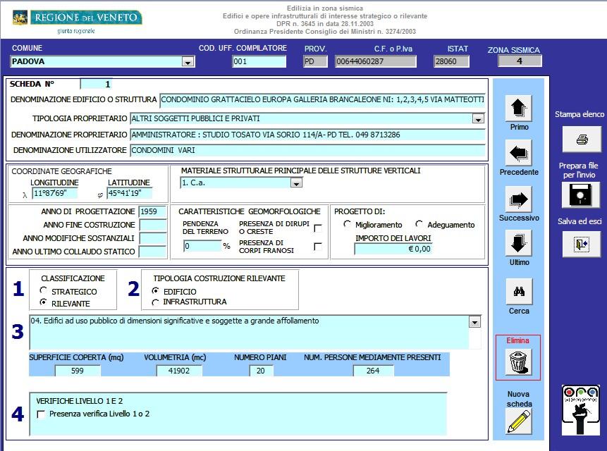 Regione veneto software per la rilevazione edifici e for Software di progettazione di edifici domestici
